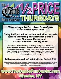 Half Priced Thursdays in October @ The Castle Fun Center | Chester | New York | United States
