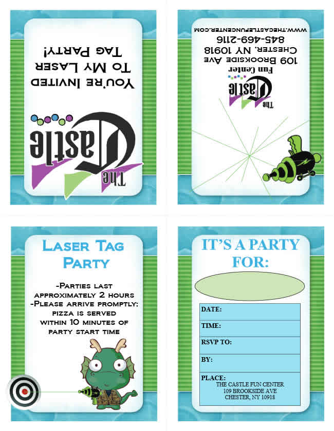picture about Printable Laser Tag Birthday Invitations identify Bash Invites - The Castle Pleasurable Heart