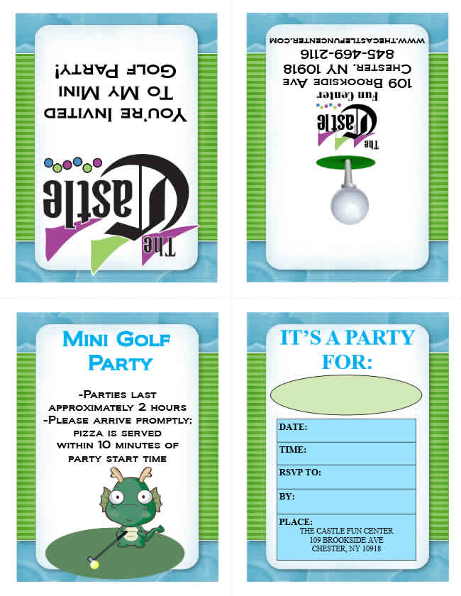 Party invitations the castle fun center mini golf birthday party invitations filmwisefo