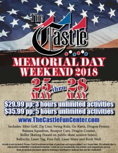 Memorial Day Weekend Promo! @ The Castle Fun Center