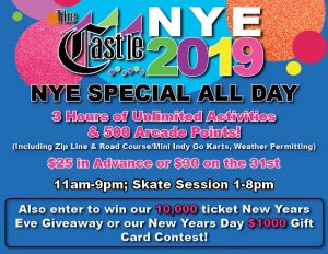 New Years Eve; Open 11 am to 9 pm (1 to 8 pm skate session) @ The Castle Fun Center