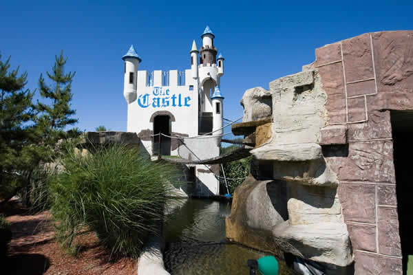 Castle on the mini golf course at The Castle Fun Center